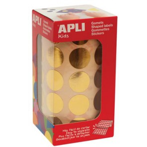 Apli Kids stickers op rol, cirkel diameter 20 mm, 1770 stuks, metallic goud