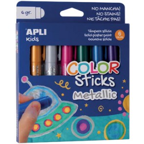Apli Kids plakkaatverf Color sticks, metallic, blister met 6 stuks