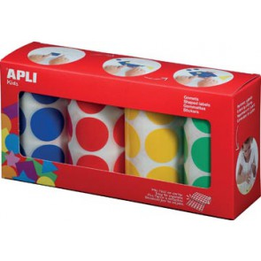 Apli Kids stickers XL cirkels, diameter 33 mm, doos met 4 rollen in 4 kleuren
