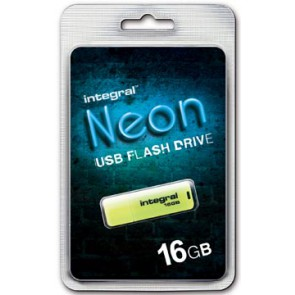 Integral Neon USB 2.0 stick, 16 GB, geel