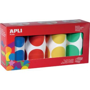 Apli Kids stickers XL cirkels, diameter 45 mm, doos met 4 rollen in 4 kleuren
