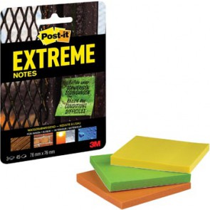 Post-it® Extreme Notes, ft 76 x 76 mm, 3 blokken van 45 blaadjes, geassorteerde kleuren