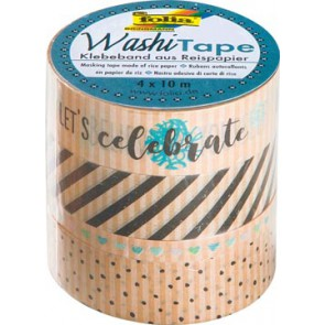 Folia washi tape kraft party II, pak met 4 stuks