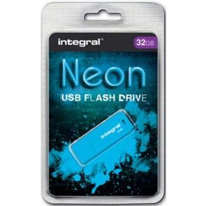Integral Neon USB 2.0 stick, 32 GB, blauw