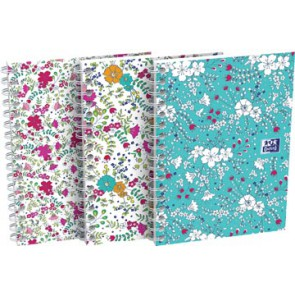 Oxford Floral softcover spiraalschrift, ft A6, 50 vel, geruit 5 mm, 3 geassorteerde designs