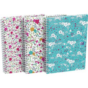 Oxford Floral hardcover spiraalschrift, ft B5, 60 vel, geruit 5 mm, 3 geassorteerde designs