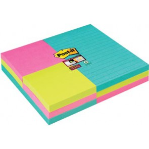 Post-it Super Sticky Notes combo pack, ft 76 x 76 mm, 90 vel, 6 blok + ft 101 x 152 mm, 90 vel, 3 blok