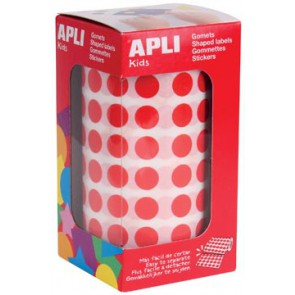 Apli Kids stickers op rol, cirkel diameter 10,5 mm, rood