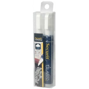 Securit Waterproof krijtmarker medium wit, blister met 2 stuks