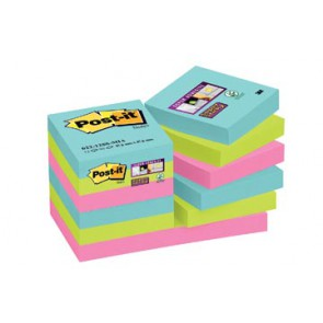 Post-it Super Sticky notes Miami, ft 47,6 x 47,6 mm, 90 vel, pak van 12 blokken