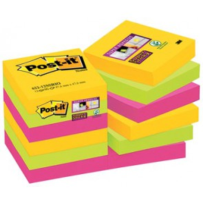 Post-it Super Sticky Notes Rio, ft 47,6 x 47,6 mm, 90 blaadjes