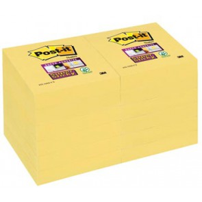 Post-it Super Sticky notes, ft 47,6 x 47,6 mm, geel, 90 vel, pak van 12 blokken