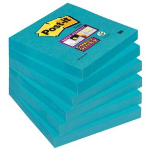 Post-it Super Sticky notes, ft 76 x 76 mm, electric blauw, 90 vel, pak van 6 blokken