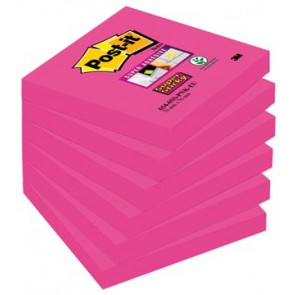 Post-it Super Sticky notes, ft 76 x 76 mm, fuchsia, 90 vel, pak van 6 blokken