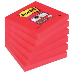 Post-it Super Sticky notes, ft 76 x 76 mm, poppy roze, 90 vel, pak van 6 blokken
