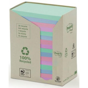 Post-it Notes gerecycleerd, ft 76 x 127 mm, geassorteerde kleuren, 100 vel, pak van 16 blokken