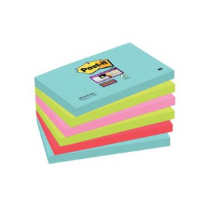 Post-it Super Sticky notes Miami, ft 76 x 127 mm, 90 vel, pak van 6 blokken