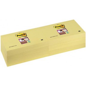 Post-it Super Sticky notes, ft 76 x 127 mm, geel, 90 vel, pak van 12 blokken