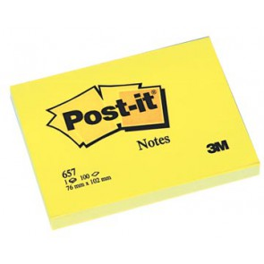 Post-it Notes, ft 76 x 102 mm, geel, blok van 100 vel