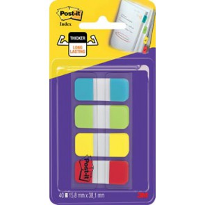 Post-it index Strong, ft 15,8 x 38,1 mm, blister met 4 kleuren, 10 tabs per kleur