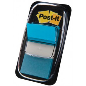 Post-it Index standaard, ft 25,4 x 43,2 mm, turkoois, houder met 50 tabs