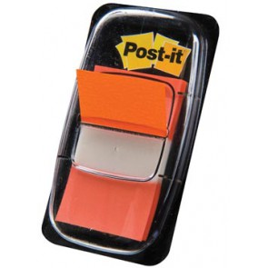 Post-it Index standaard, ft 25,4 x 43,2 mm, oranje, houder met 50 tabs