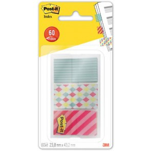 Post-It Index Smal candy voor ft 23,8 x 43,2 mm, 3 x 20 tabs