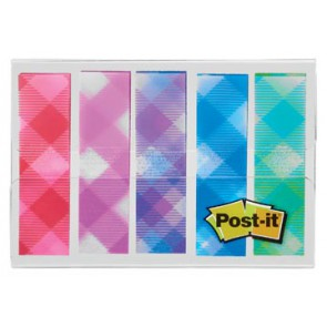 Post-it Index,plaid motive collection, ft 11,9 mm x 43,2mm, 5 x 20 stuks