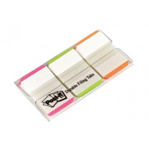 Post-it Index Strong, , ft 25,4 x 38 mm, wit met gekleurde rand, 3 kleuren, 22 tabs per kleur