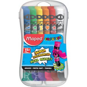 Maped plakkaatverf Color'Peps, 12 ml, 12 tubes in een plastic etui