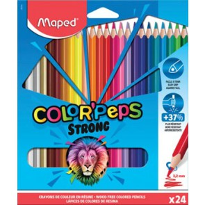 Maped kleurpotlood Color'Peps Strong, 24 potloden in een kartonnen etui