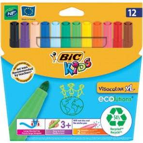 Bic Kids Viltstift Visacolor XL Ecolutions 12 stiften in een kartonnen etui