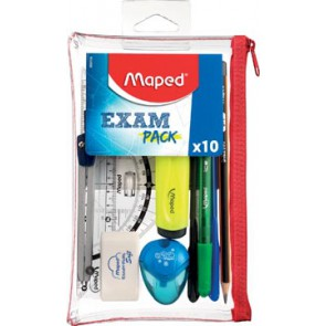 Maped examenset, 10 -delig, in transparant etui