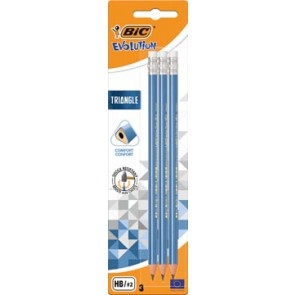 Bic potlood Evolution Triangle, met gom, blister van 3 stuks