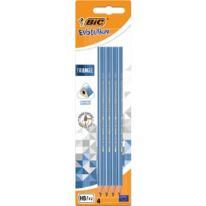 Bic potlood Evolution Triangle, blister van 4 stuks