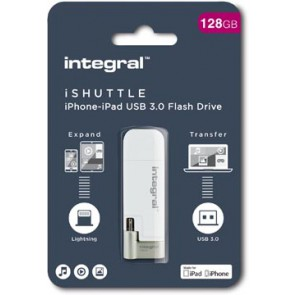 Integral iShuttle USB 3.0 stick, 128 GB, wit