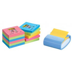 Post-it Z-Notes dispenser Pro Color hemelsblauw, voor ft 76 x 76 mm, 12 blokken van 90 vel