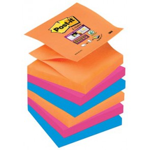 Post-it Super Sticky Z-Notes Bangkok, ft 76 x 76 mm, geassorteerde kleuren, 90 vel, pak van 6 blokken